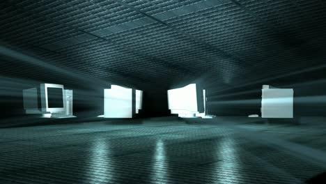 Spinning-Monitors-in-Warehouse-Dark
