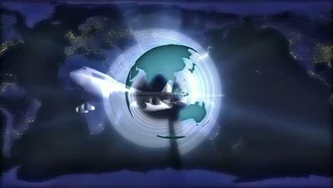 Globe-Over-Night-With-Plane
