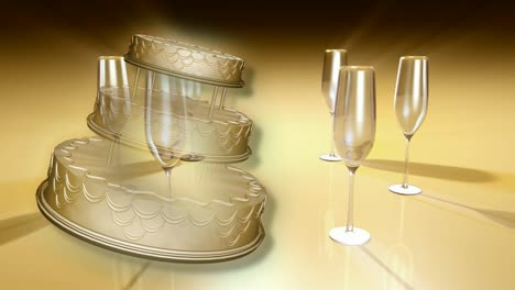 Wedding-Cake-and-Champagne-Glass-Concept