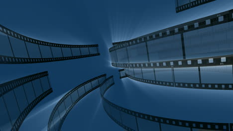 Rotating-Film-Reels-on-Blue-Background