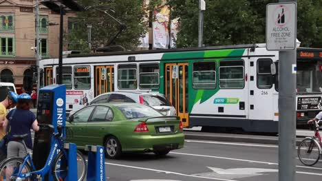 Melbourne---Tram-in-Fed-Square