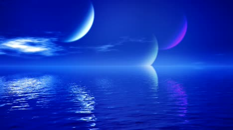 Abstract-Blue-Sea-With-Planets