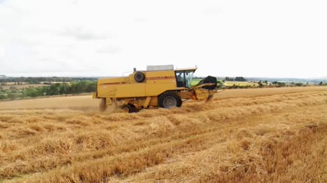 Combine-Harvester-in-Barley-Field