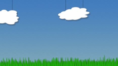 Cartoon-Clouds-and-Grass-Animated