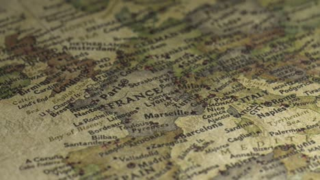 Panning-on-a-Vintage-Map-Across-to-France