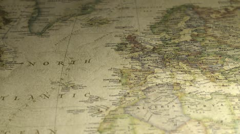Panning-on-a-Vintage-Map-Across-to-Europe-2