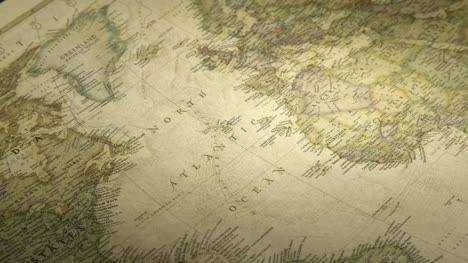 Pan-Across-to-the-North-Atlantic-Ocean-on-a-Vintage-Map