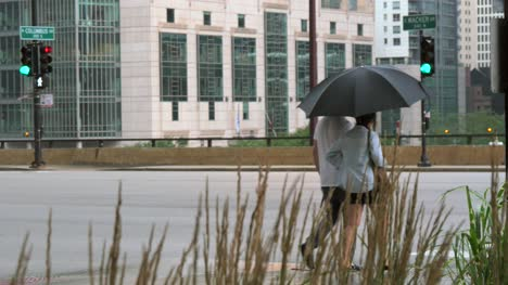 Couple-Stood-with-Umbrella-in-Chicago