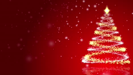Christmas-Tree-on-Red-Background-Loop