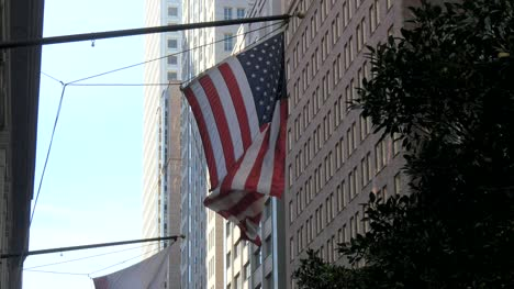 USA-Flag-Flying-in-Downtown-San-Francisco