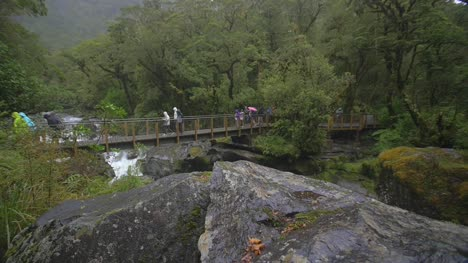 Tourists-Walking-Over-Bridge-in-Rain