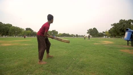 Indian-Children-Play-a-Game-of-Cricket