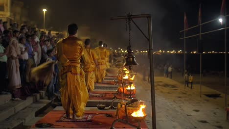 Nighttime-Ceremony-Being-Performed-in-Varanasi