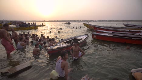 Children-Playing-in-River-Ganges-at-Sunset