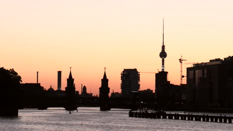 Berlin-Cityscape-Silhouetted-at-Sunset