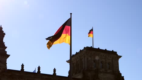 German-Flag-Flying-on-Reichstag-Building-Germany