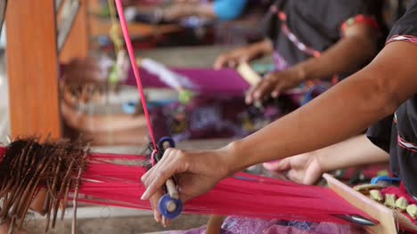 Indonesian-Women-Weaving-in-a-Workshop