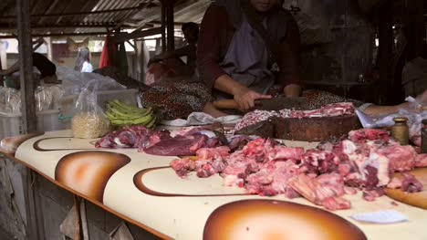 Panning-Along-a-Market-Stall-of-Meat