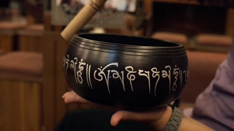 Close-Up-Shot-of-a-Singing-Bowl-in-Use