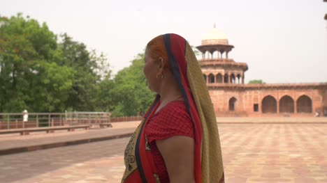 Traditionally-Dressed-Indian-Lady-Walking