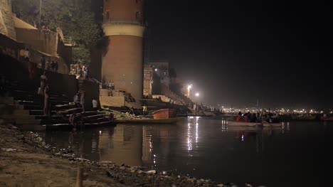 Reveal-Shot-of-the-Ganges-at-Night