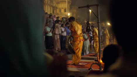 Prayer-and-Worship-at-Nighttime-Ceremony-in-Varanasi
