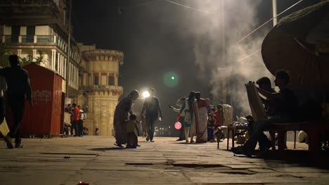 Men-and-Women-on-Indian-Street-at-Night