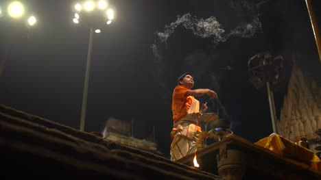 Man-Waves-Incense-at-Ganga-Aarti-Ceremony
