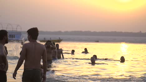 Bathers-in-the-Ganges-Shallows-at-Sunset
