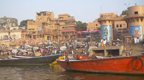 Slow-Pan-Over-Boats-by-Dashashwamedh-Ghat