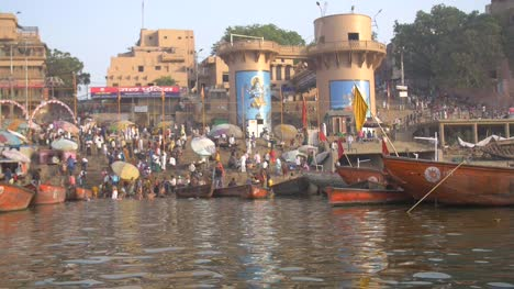 Panning-Shot-of-Dashashwamedh-Ghat-from-River