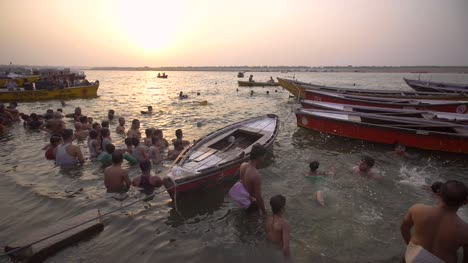 People-in-the-Ganges-at-Sundown