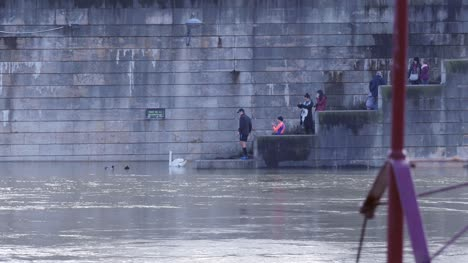 People-on-Flooded-Steps-at-River-Seine