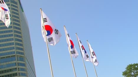 Row-of-South-Korean-Flags