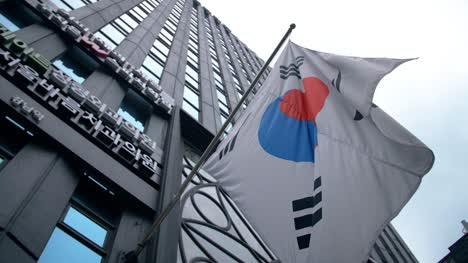 South-Korean-Flag-Hanging-from-Skyscraper
