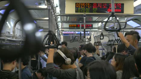 Busy-Train-Carriage-in-Seoul