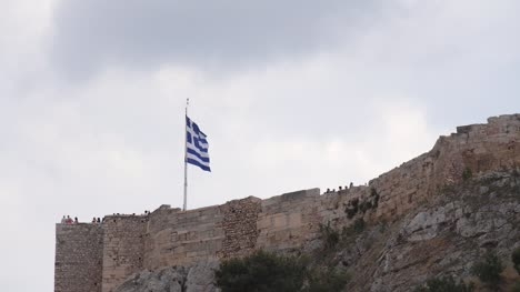 Greek-Flag-Flying-on-Acropolis-Athens