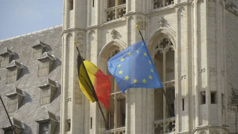 Belgian-and-EU-Flags-on-Brussels-Town-Hall