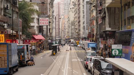 Road-with-Tram-Stop-in-Hong-Kong