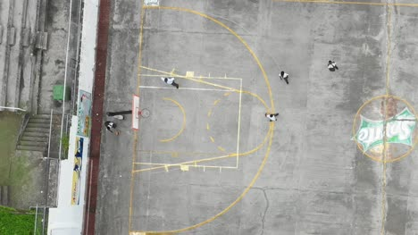 Aerial-View-of-Kids-Playing-Basketball