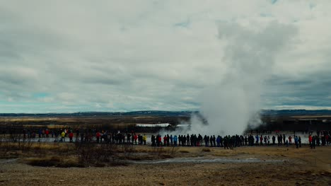 People-Watching-Erupting-Geyser