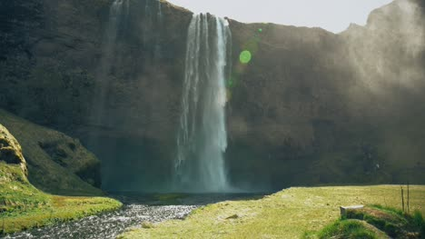 Panning-Up-a-Waterfall-in-Iceland
