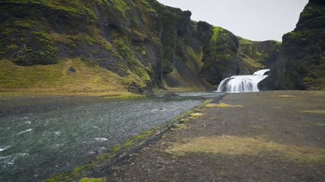 Waterfall-and-Stream-in-Iceland