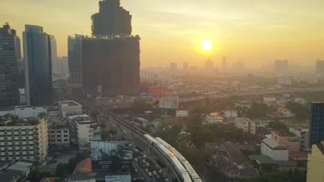 Bangkok-Train-From-Above-at-Sunset