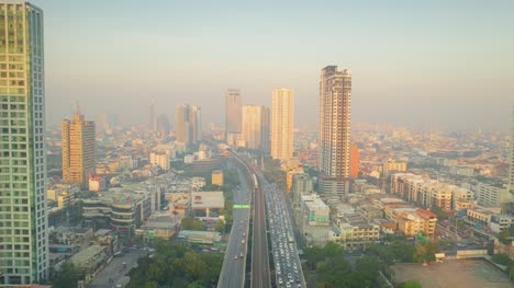 Bangkok-Traffic-and-Buildings-at-Dawn