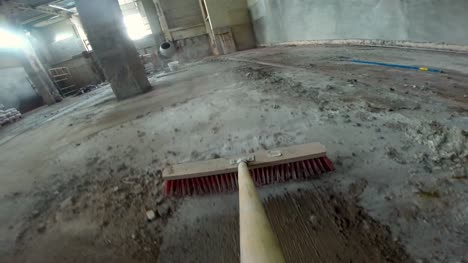 Sweeping-Building-Site-With-Broom-GoPro