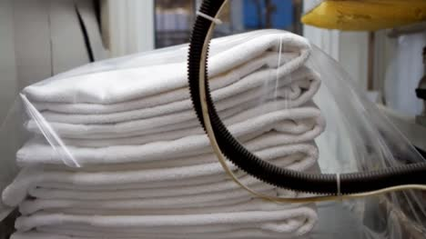 Packaging-Clean-Towels-in-Industrial-Laundry