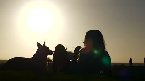 Woman-And-Dog-Sat-On-Beach-At-Sunset