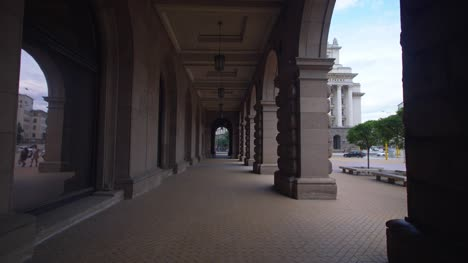 Walking-Through-Colonnade-in-Sofia