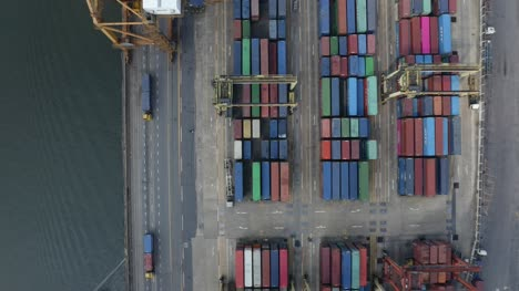 Flying-Over-Container-Port